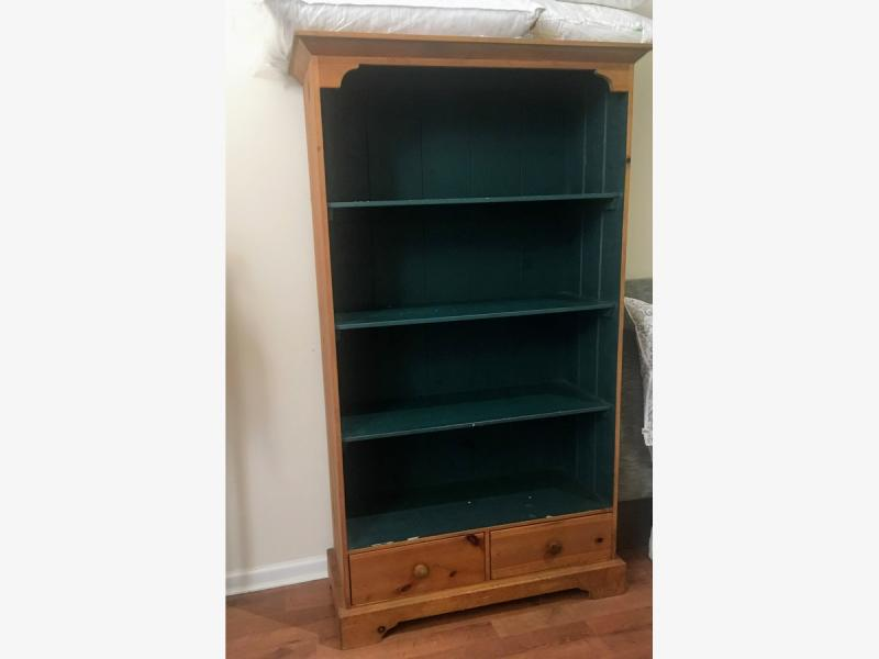 Solid Pine Farmhouse Style Bookshelf For Sale