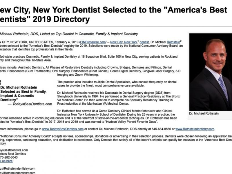 Dr Michael Rothstein Selected As America S Best Dentist