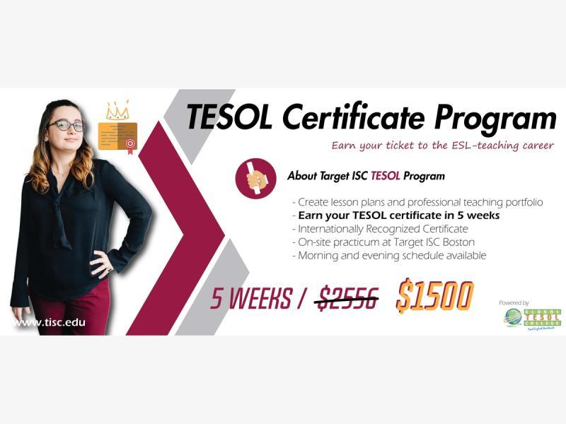 Tesol Certificate Program Starts September 4th 2018 Boston Ma
