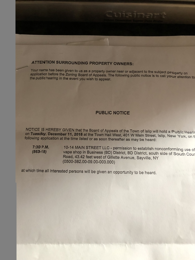 Public Hearing, December 11, 2018 - Sayville, NY Patch